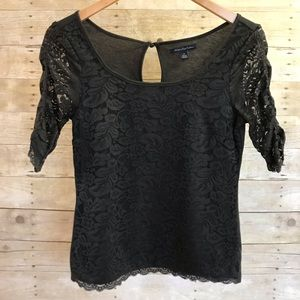 American Eagle Outfitters Black Lace Blouse Top S